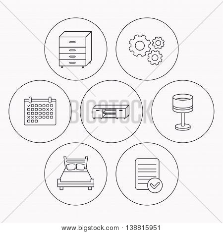 Double bed, table lamp and TV table icons. Chest of drawers linear sign. Check file, calendar and cogwheel icons. Vector