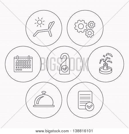 Reception bell, fountain and beach deck chair icons. Clean room linear sign. Check file, calendar and cogwheel icons. Vector