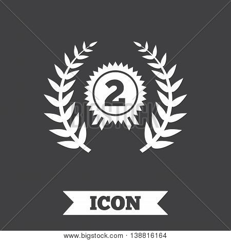 Second place award sign icon. Prize for winner symbol. Laurel Wreath. Graphic design element. Flat award symbol on dark background. Vector