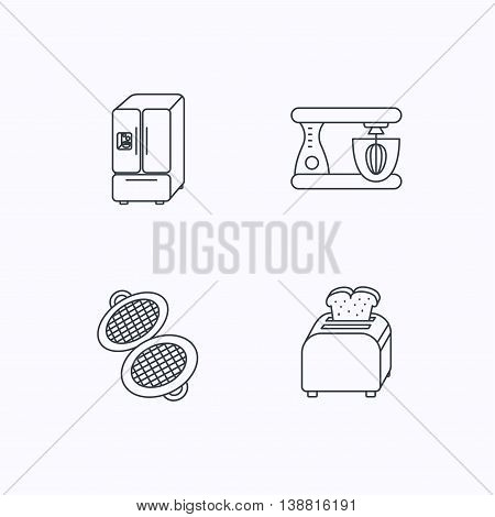 American style refrigerator, mixer and toaster icons. Waffle-iron linear sign. Flat linear icons on white background. Vector