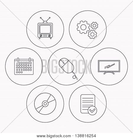 Retro TV, PC mouse and DVD disc icons. Widescreen TV linear sign. Check file, calendar and cogwheel icons. Vector