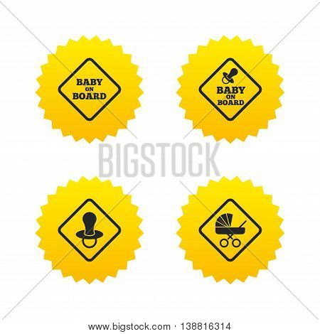 Baby on board icons. Infant caution signs. Child buggy carriage symbol. Yellow stars labels with flat icons. Vector