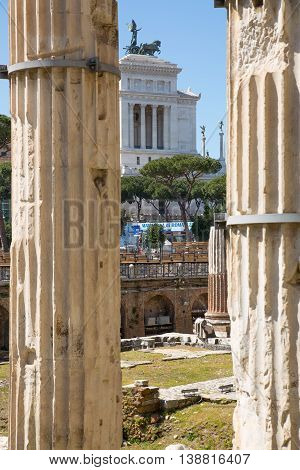 ROME, ITALY - APRIL 8, 2016: Emperor Trajan Forum 106 - 112 AD AD
