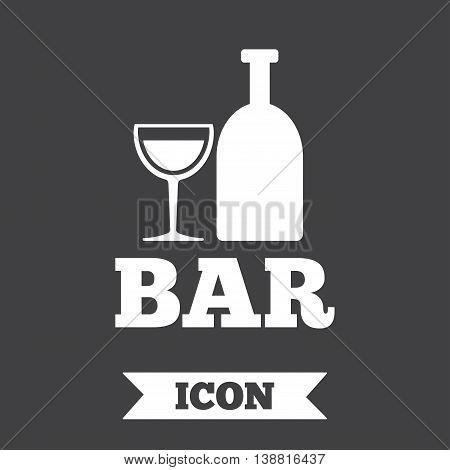 Bar or Pub sign icon. Wine bottle and Glass symbol. Alcohol drink symbol. Graphic design element. Flat bar symbol on dark background. Vector