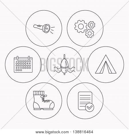 Flashlight, fishing float and hiking boots. Camping tent linear sign. Check file, calendar and cogwheel icons. Vector