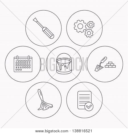 Spatula, screwdriver and paint brush icons. Brush linear sign. Check file, calendar and cogwheel icons. Vector
