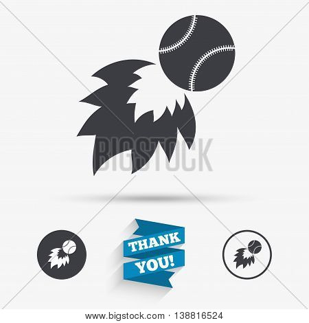 Baseball fireball sign icon. Sport symbol. Flat icons. Buttons with icons. Thank you ribbon. Vector