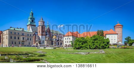 Wawel, royal castle and cathedral in Cracow, Poland. Panorama view from inside of the castle.