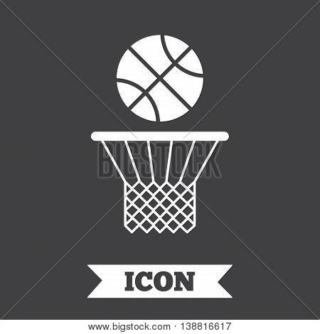 Basketball basket and ball sign icon. Sport symbol. Graphic design element. Flat basketball symbol on dark background. Vector
