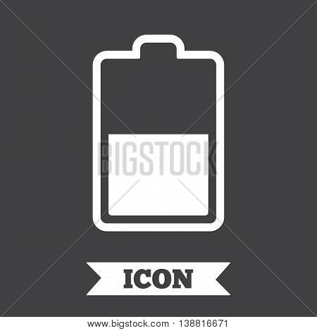 Battery half level sign icon. Low electricity symbol. Graphic design element. Flat battery symbol on dark background. Vector