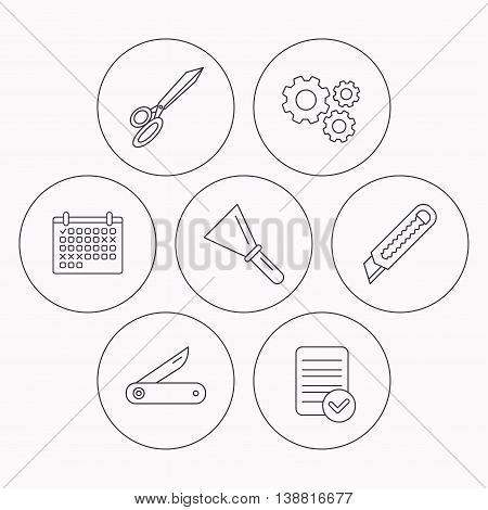 Paper knife, spatula and scissors icons. Multi-tool knife linear sign. Check file, calendar and cogwheel icons. Vector