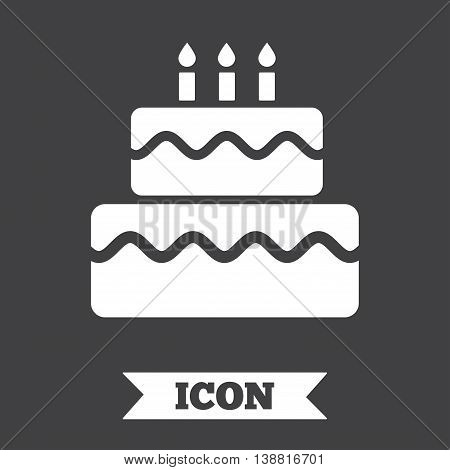 Birthday cake sign icon. Cake with burning candles symbol. Graphic design element. Flat cake symbol on dark background. Vector