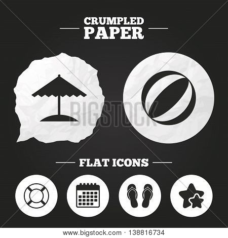 Crumpled paper speech bubble. Beach holidays icons. Ball, umbrella and flip-flops sandals signs. Lifebuoy symbol. Paper button. Vector