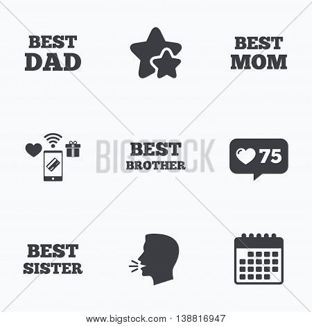 Best mom and dad, brother and sister icons. Award symbols. Flat talking head, calendar icons. Stars, like counter icons. Vector