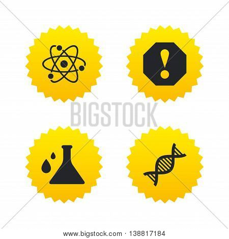 Attention and DNA icons. Chemistry flask sign. Atom symbol. Yellow stars labels with flat icons. Vector