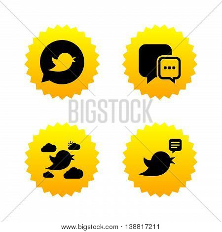 Birds icons. Social media speech bubble. Short messages chat symbol. Yellow stars labels with flat icons. Vector