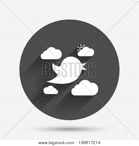 Bird icon. Social media sign. Short messages symbol. Clouds with sun. Circle flat button with shadow. Vector