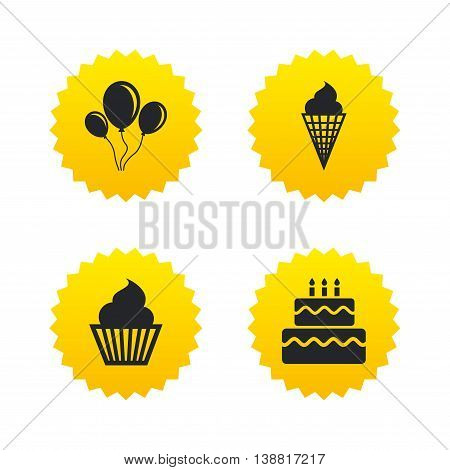 Birthday party icons. Cake with ice cream signs. Air balloons with rope symbol. Yellow stars labels with flat icons. Vector