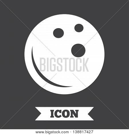 Bowling ball sign icon. Bowl symbol. Graphic design element. Flat bowling symbol on dark background. Vector