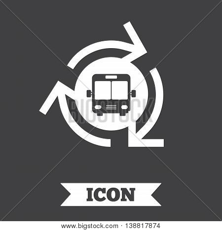Bus shuttle icon. Public transport stop symbol. Graphic design element. Flat bus shuttle symbol on dark background. Vector