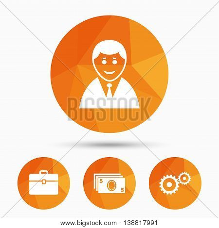Businessman icons. Human silhouette and cash money signs. Case and gear symbols. Triangular low poly buttons with shadow. Vector