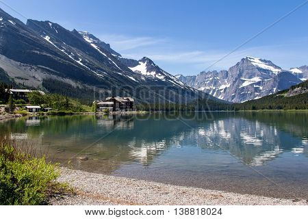 Swiftcurrent Lake and reflections at Many Glaciers, Glacier National Park, Montana