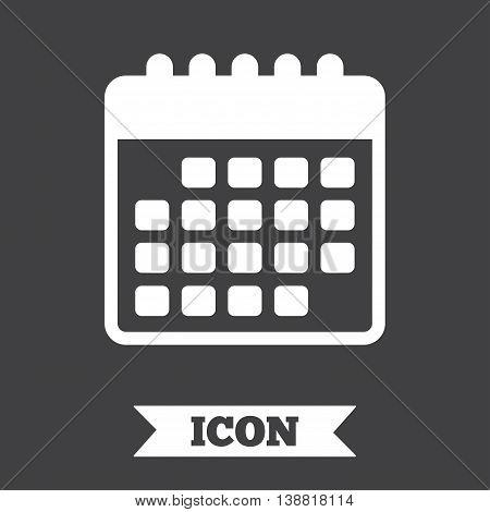 Calendar icon. Event reminder symbol. Graphic design element. Flat calendar symbol on dark background. Vector