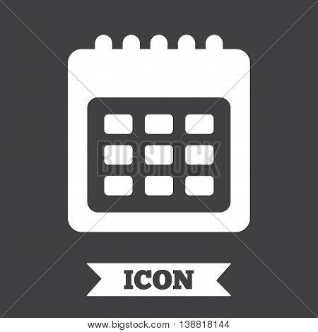 Calendar sign icon. Date or event reminder symbol. Graphic design element. Flat calendar symbol on dark background. Vector