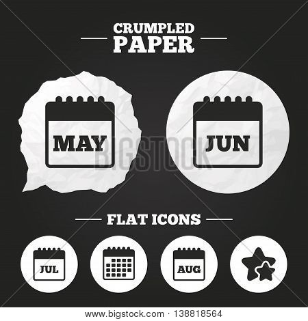 Crumpled paper speech bubble. Calendar icons. May, June, July and August month symbols. Date or event reminder sign. Paper button. Vector