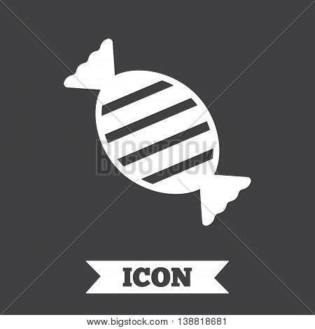 Candy icon. Sweet food sign. Graphic design element. Flat candy symbol on dark background. Vector