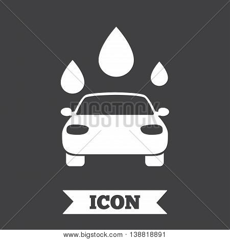Car wash icon. Automated teller carwash symbol. Water drops signs. Graphic design element. Flat carwash symbol on dark background. Vector