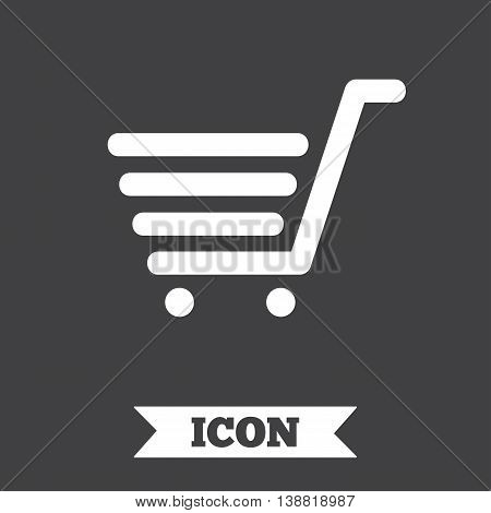 Shopping Cart sign icon. Online buying button. Graphic design element. Flat shopping cart symbol on dark background. Vector