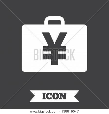 Case with Yen JPY sign icon. Briefcase button. Graphic design element. Flat case symbol on dark background. Vector