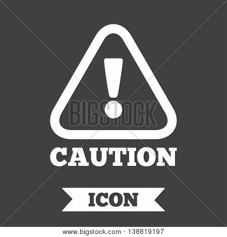 Attention caution sign icon. Exclamation mark. Hazard warning symbol. Graphic design element. Flat caution symbol on dark background. Vector