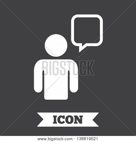 Chat sign icon. Speech bubble symbol. Chat bubble with human. Graphic design element. Flat chat symbol on dark background. Vector