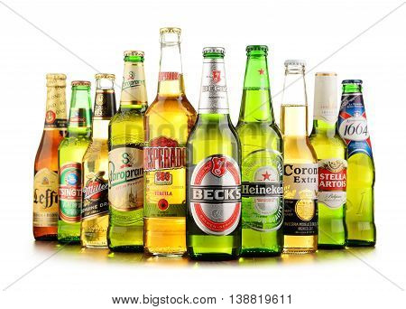 POZNAN POLAND - JULY 14 2016: beer is the world's most widely consumed alcoholic beverage; its global market is largely dominated by brands of several multinational corporations