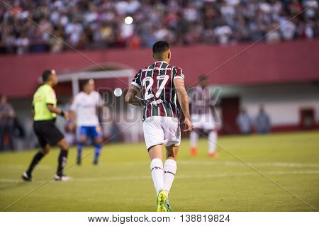 Rio de Janeiro Brazil - April 10 2016: xxxxxxx player in match between Fluminense and Cruzeiro by the Brazilian championship in the Giulite Coutinho Stadium