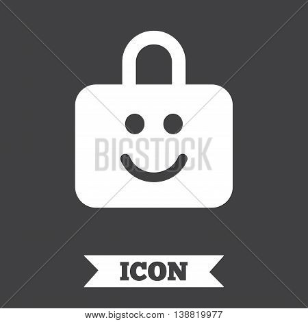 Child lock icon. Locker with smile symbol. Child protection. Graphic design element. Flat child lock symbol on dark background. Vector