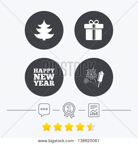 Happy new year icon. Christmas tree and gift box signs. Fireworks rocket symbol. Chat, award medal and report linear icons. Star vote ranking. Vector
