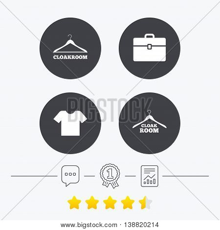 Cloakroom icons. Hanger wardrobe signs. T-shirt clothes and baggage symbols. Chat, award medal and report linear icons. Star vote ranking. Vector
