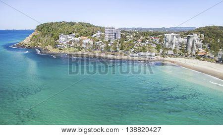Aerial view of Burleigh headland and shoreline. Gold Coast, Australia