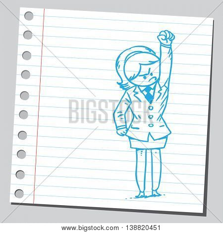 Businesswoman with fist in the air