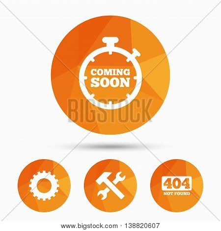 Coming soon icon. Repair service tool and gear symbols. Hammer with wrench signs. 404 Not found. Triangular low poly buttons with shadow. Vector