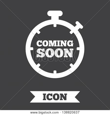 Coming soon sign icon. Promotion announcement symbol. Graphic design element. Flat coming soon symbol on dark background. Vector