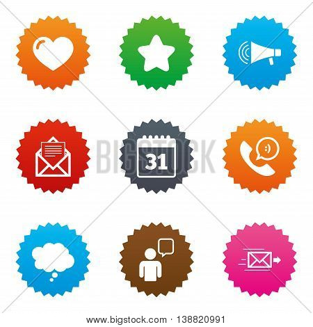 Mail, contact icons. Favorite, like and calendar signs. E-mail, chat message and phone call symbols. Stars label button with flat icons. Vector