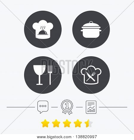 Chief hat and cooking pan icons. Crosswise fork and knife signs. Boil or stew food symbols. Chat, award medal and report linear icons. Star vote ranking. Vector