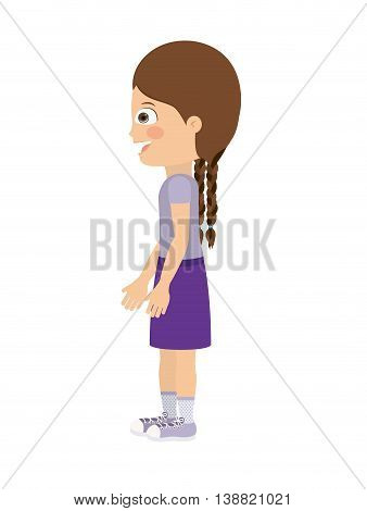 girl standing looking aside isolated icon design, vector illustration  graphic