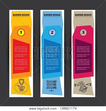 Colorful Business Banners Flat Design Vertical Template Vector Set