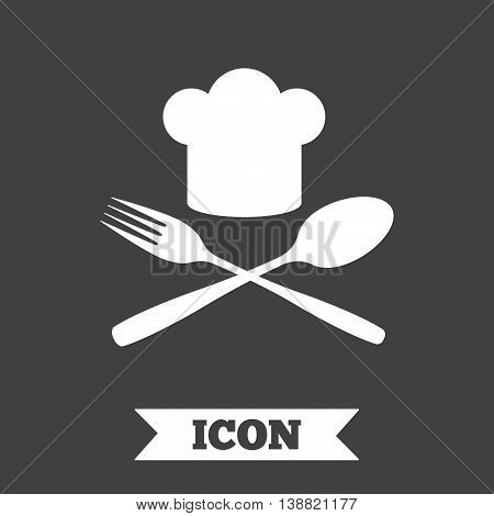 Chef hat sign icon. Cooking symbol. Cooks hat with fork and spoon. Graphic design element. Flat cook symbol on dark background. Vector