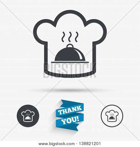 Chef hat sign icon. Cooking symbol. Cooks hat with hot dish. Flat icons. Buttons with icons. Thank you ribbon. Vector